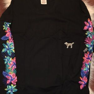 NWT pink campus bling long sleeve tee